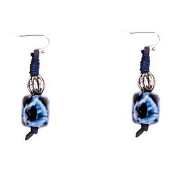 Bay Studio Cord & Blue Ceramic Bead Drop Earrings