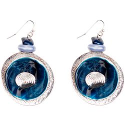Bay Studio Blue Ceramic Donut Ring Drop Earrings