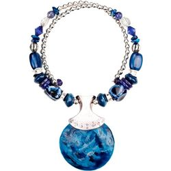 Bay Studio Blue Bead Coil & Shell Pendant Necklace