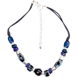 Bay Studio Blue Multi Bead Frontal Necklace