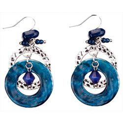Bay Studio Blue Double Ring & Bead Dangle Earrings