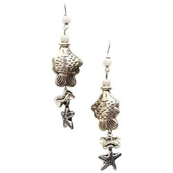Bay Studio Fish & Starfish Linear Dangle Earrings