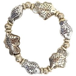 Bay Studio Multi Fish Charm Beaded Stretch Bracelet