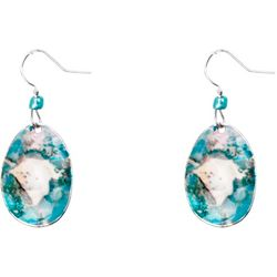 Bay Studio Aqua Multi Enamel Oval Drop Earrings
