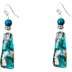 Bay Studio Aqua Multi Enamel Linear Drop Earrings