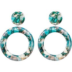 Bay Studio Aqua Multi Enamel Hoop Drop Earrings