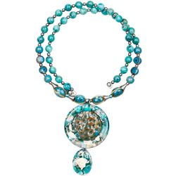 Bay Studio Aqua Multi Ceramic & Bead Coil Necklace