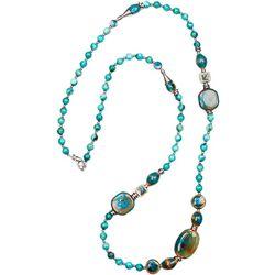 Bay Studio Long Aqua Multi Beaded Necklace