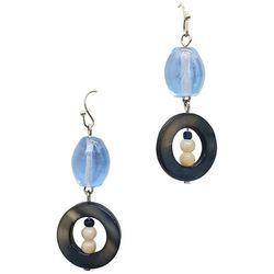 Bay Studio Blue Glass & Shell Drop Earrings