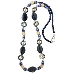 Bay Studio Long Blue & Natural Multi Bead Necklace