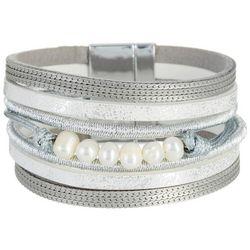 SAACHI Silver Tone Mixed Pearl Leather Bracelet