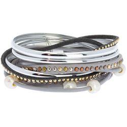 SAACHI Multi Row Leather & Rhinestone Wrap Bracelet Set