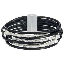 SAACHI 7 Row Black Cord Bar & Rhinestone Bracelet