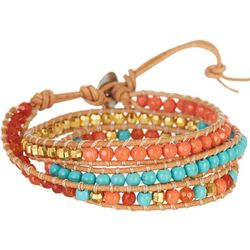 SAACHI Boxed Coral & Turquoise Bead Wrapped Bracel