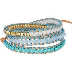 SAACHI Multi Turquoise Two Tone Bead Wrap Bracelet