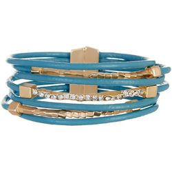 SAACHI Blue Leather & Bar Rhinestone Bracelet