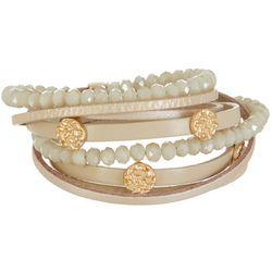 SAACHI Cream Leather & Bead Wrap Bracelet
