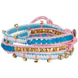 SAACHI Pink & Aqua Long Bead Multi Wrap Bracelet