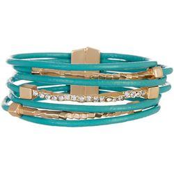 SAACHI Turquoise Leather & Rhinestone Bracelet
