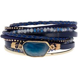 Navy Bead & Leather Agate Wrap Bracelet