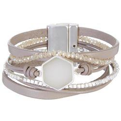 SAACHI Taupe Multi Row Leather & Bead Bracelet