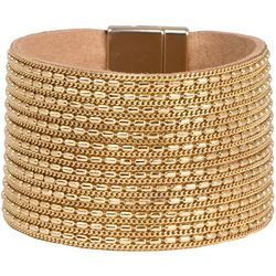 SAACHI Gold Tone Chain & Leather Cuff Bracelet