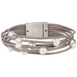 7 Row Taupe Leather Cord & Faux Pearl Bracelet