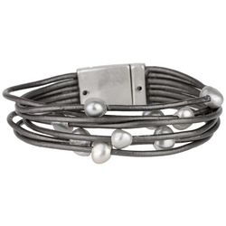 SAACHI Faux Pearl & Grey Leather Cord Bracelet