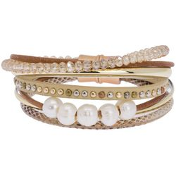 SAACHI 7 Row Mixed Cord Faux Pearl Magnetic Bracelet