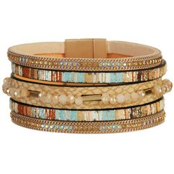 SAACHI Be Cheerful 5-Row Beaded Magnetic Strap Bracelet