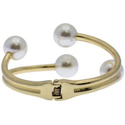 SAACHI Gold Tone Hinged Faux Pearl Bangle Bracelet
