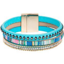 SAACHI 3 Row Aqua Urban Rhinestone Cuff Bracelet