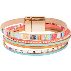 SAACHI Cheerful Pearl Seedbead Leather Bracelet