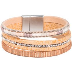 SAACHI Rhinestone Natural Leather Cuff Bracelet