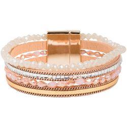 SAACHI Glass Facet & Leather Cuff Bracelet
