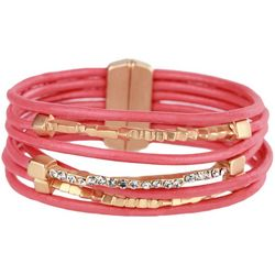 SAACHI Coral Leather & Bar Rhinestone Bracelet