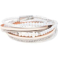 SAACHI Pebble Beach Double Wrap White Bracelet