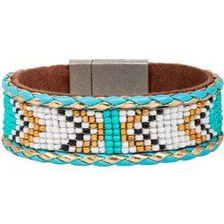 SAACHI Turquoise Coyote Seedbead Cuff Bracelet