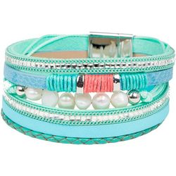SAACHI Blue Green Pearl Leather Multi Row Bracelet
