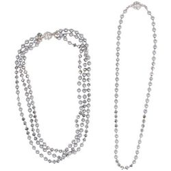 Bay Studio Detachable Grey Glass & Pearl Necklace