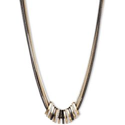 Nine West Tri Tone Slider Snake Chain Necklace