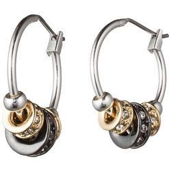 Nine West Tri-Tone Pave Slider Hoop Earrings