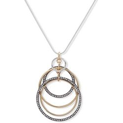 Nine West Tri Tone Multi Ring Adjustable Necklace