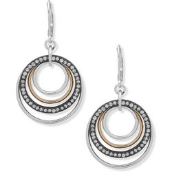 Nine West Tri Tone Crystal Orbital Ring Earrings