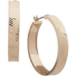 Nine West Gold Tone Wide Textured Hoop Earring