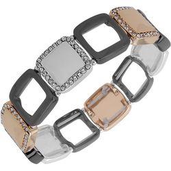 Nine West Tri Tone Hollow Square Link Stretch Bracelet