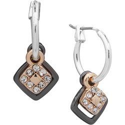Nine West Small Hoop Square Drop Earrings