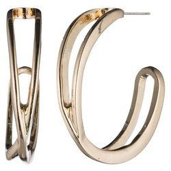 Nine West Gold Tone Crossover Hoop Earrings