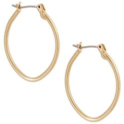 Nine West Gold Tone Oval Click Hoop Earrings