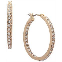 Nine West Gold Tone In Out Rhinestone Hoop Earrings